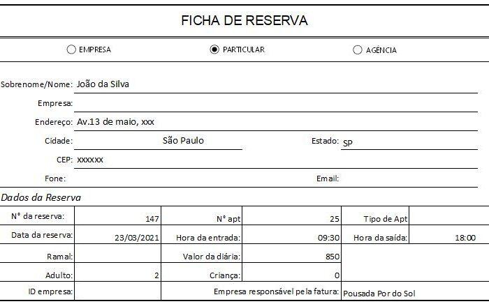 Ficha de Reserva em Excel