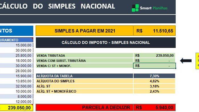 Planilha Cálculo de Imposto Simples Nacional