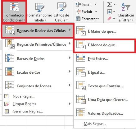 deixar números negativos em vermelho no Excel